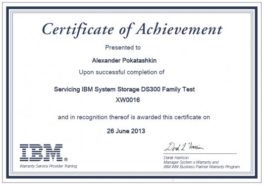 IBM Certificate XW0016