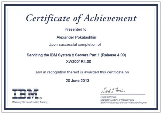 IBM Certificate XW2001R4